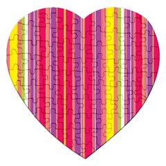 Stripes Colorful Background Jigsaw Puzzle (heart) by Simbadda