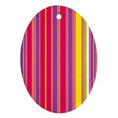 Stripes Colorful Background Oval Ornament (two Sides) by Simbadda