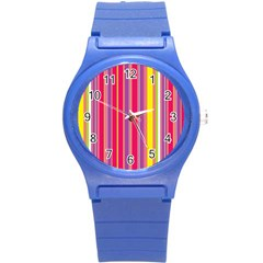 Stripes Colorful Background Round Plastic Sport Watch (S)