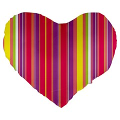 Stripes Colorful Background Large 19  Premium Heart Shape Cushions by Simbadda