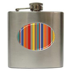 Stripes Background Colorful Hip Flask (6 Oz) by Simbadda