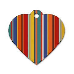 Stripes Background Colorful Dog Tag Heart (one Side) by Simbadda
