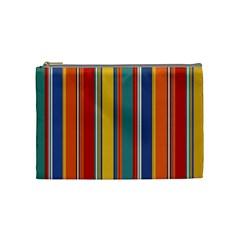 Stripes Background Colorful Cosmetic Bag (medium)  by Simbadda