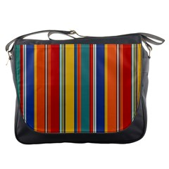 Stripes Background Colorful Messenger Bags by Simbadda