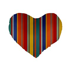 Stripes Background Colorful Standard 16  Premium Flano Heart Shape Cushions by Simbadda