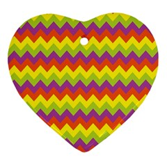 Colorful Zigzag Stripes Background Ornament (heart) by Simbadda