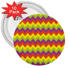 Colorful Zigzag Stripes Background 3  Buttons (10 Pack)  by Simbadda
