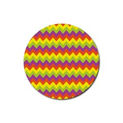 Colorful Zigzag Stripes Background Rubber Coaster (round)  by Simbadda