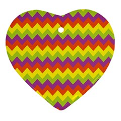 Colorful Zigzag Stripes Background Heart Ornament (two Sides) by Simbadda