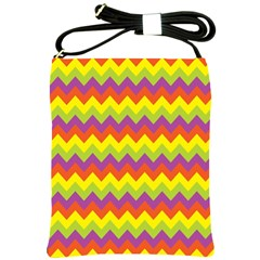 Colorful Zigzag Stripes Background Shoulder Sling Bags by Simbadda