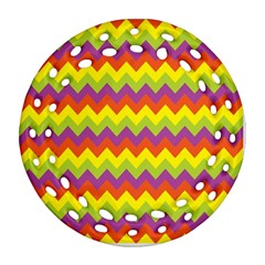 Colorful Zigzag Stripes Background Round Filigree Ornament (two Sides) by Simbadda