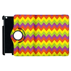 Colorful Zigzag Stripes Background Apple Ipad 3/4 Flip 360 Case by Simbadda