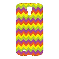 Colorful Zigzag Stripes Background Samsung Galaxy S4 I9500/i9505 Hardshell Case by Simbadda
