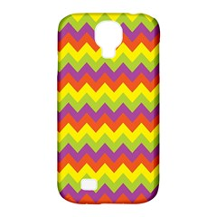 Colorful Zigzag Stripes Background Samsung Galaxy S4 Classic Hardshell Case (pc+silicone) by Simbadda