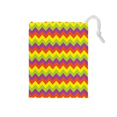 Colorful Zigzag Stripes Background Drawstring Pouches (medium)  by Simbadda