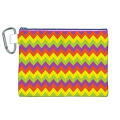 Colorful Zigzag Stripes Background Canvas Cosmetic Bag (xl) by Simbadda