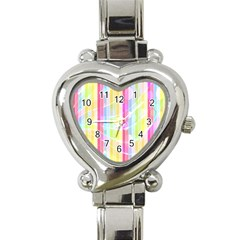 Abstract Stripes Colorful Background Heart Italian Charm Watch by Simbadda