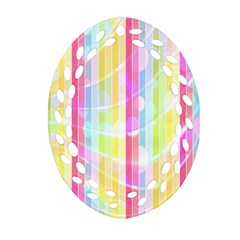 Abstract Stripes Colorful Background Ornament (oval Filigree) by Simbadda