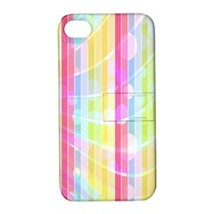 Abstract Stripes Colorful Background Apple Iphone 4/4s Hardshell Case With Stand by Simbadda