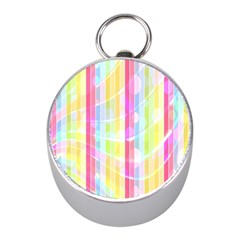 Abstract Stripes Colorful Background Mini Silver Compasses by Simbadda