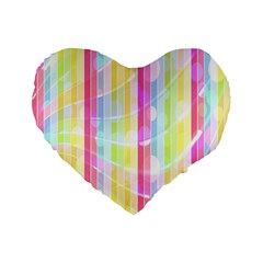 Abstract Stripes Colorful Background Standard 16  Premium Flano Heart Shape Cushions by Simbadda