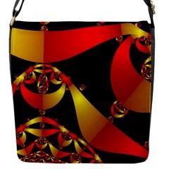 Fractal Ribbons Flap Messenger Bag (s) by Simbadda