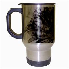 Fractal Black Flower Travel Mug (silver Gray) by Simbadda