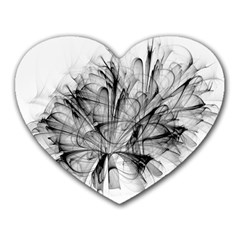 Fractal Black Flower Heart Mousepads by Simbadda