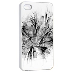 Fractal Black Flower Apple Iphone 4/4s Seamless Case (white) by Simbadda