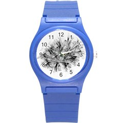 Fractal Black Flower Round Plastic Sport Watch (s) by Simbadda
