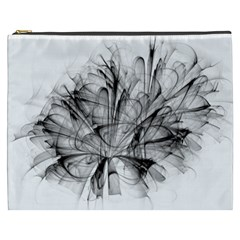 Fractal Black Flower Cosmetic Bag (xxxl)  by Simbadda