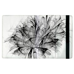Fractal Black Flower Apple Ipad 3/4 Flip Case by Simbadda