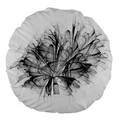 Fractal Black Flower Large 18  Premium Flano Round Cushions by Simbadda