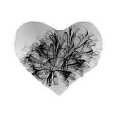 Fractal Black Flower Standard 16  Premium Flano Heart Shape Cushions by Simbadda