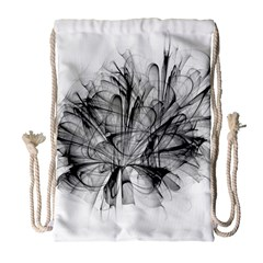 Fractal Black Flower Drawstring Bag (large) by Simbadda