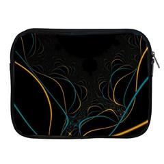 Fractal Lines Apple iPad 2/3/4 Zipper Cases by Simbadda