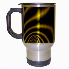 Yellow Fractal Travel Mug (silver Gray) by Simbadda