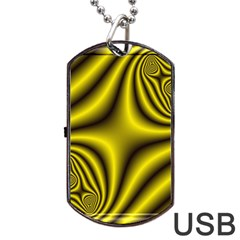 Yellow Fractal Dog Tag Usb Flash (two Sides) by Simbadda