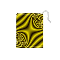 Yellow Fractal Drawstring Pouches (small)  by Simbadda
