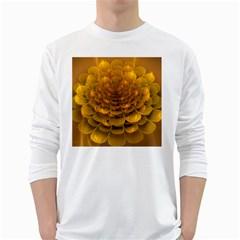 Yellow Flower White Long Sleeve T Shirts