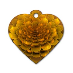 Yellow Flower Dog Tag Heart (one Side) by Simbadda