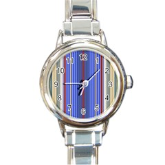 Colorful Stripes Round Italian Charm Watch by Simbadda