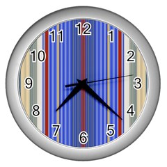 Colorful Stripes Wall Clocks (silver)  by Simbadda