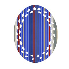 Colorful Stripes Oval Filigree Ornament (two Sides) by Simbadda