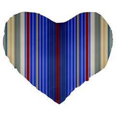 Colorful Stripes Large 19  Premium Heart Shape Cushions by Simbadda