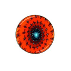 Red Fractal Spiral Hat Clip Ball Marker (4 Pack) by Simbadda