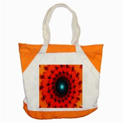 Red Fractal Spiral Accent Tote Bag by Simbadda