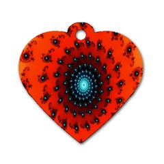 Red Fractal Spiral Dog Tag Heart (one Side) by Simbadda
