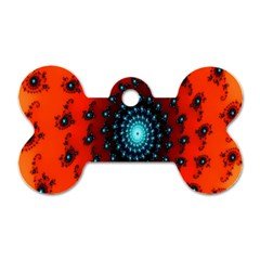 Red Fractal Spiral Dog Tag Bone (one Side) by Simbadda