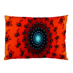 Red Fractal Spiral Pillow Case by Simbadda